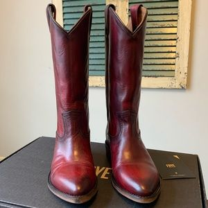 "FRYE Billy Pull On ""Red"" Boots 7.5 NEW $298"